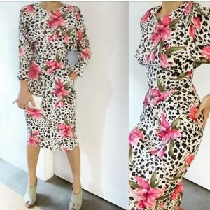 Vintage 80s 90s leopard floral midi dress pockets